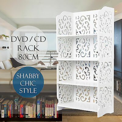 WPC 4 Tier DVD CD Rack Shelf Storage  Stand Stand Cupboard Book Unit White