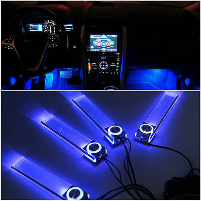 Blue Car Decorative Lights Charge LED Interior Floor Decoration Lamp 4 In 1 WB