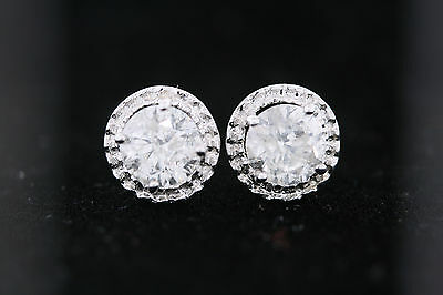 14k White Gold 1.90ct Round Diamond Stud Halo Earrings H color, I2 clarity 6.0mm