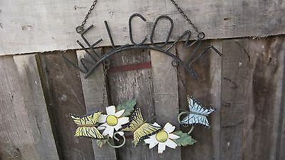 Vintage Mid Century Butterfly Welcome Sign Antique Home & Garden Iron Yard Art