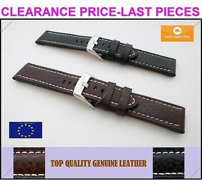 Top Quality Genuine Leather Thick Watch Strap Buffalo Black Brown 18 20 22 24mm
