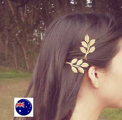 Women Lady Girl Metallic Gold or Silver color LEAF shape Head Hair side Clip pin