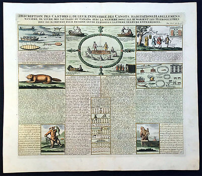 1719 Chatelain Large Antique Print of Canadian Indians, Beavers....