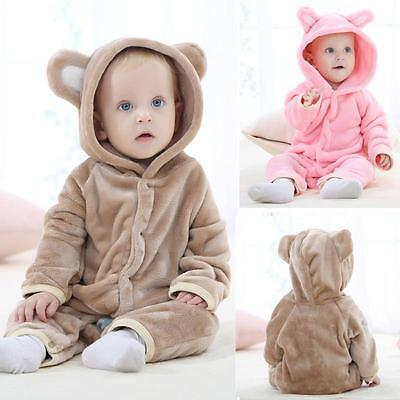 Baby Boy Girl Infant Kids Toddler Animal Bear Cat Winter Romper Onesie Jumpsuit