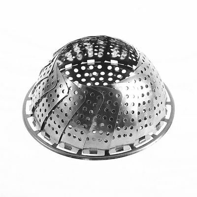 Folding Stainless Mesh Food Dish Vegetable Fruit Steamer Basket Cook Poacher NC