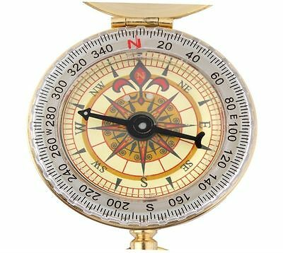 Brass Pocket Watch Style Outdoor Camping Hiking Compass Navigation Keychain NC