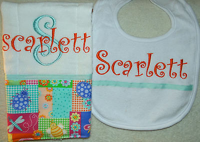 Orange and Light Teal Lady Bug Personalized Embroidered Burp Cloth and Bib Set
