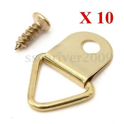 10pcs D Ring Painting Picture Frame Hanging Triangle Hanger Hook With Screw Set
