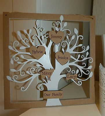 Personalised wooden family tree white shabby chic 15 names frame decoration