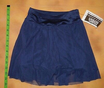 NWT Dance Jazz Navy Matte Spandex Mesh Skirt Boy Cut Booty Shorts Ladies Small