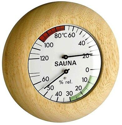 Sauna Thermometer-Hygrometer Tfa 40.1028 Real Wood Thermometer Watches