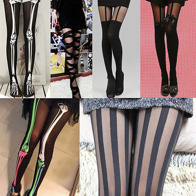 Sexy Women Girl Tattoo Pattern Temptation Party Pantyhose Stockings Tights New