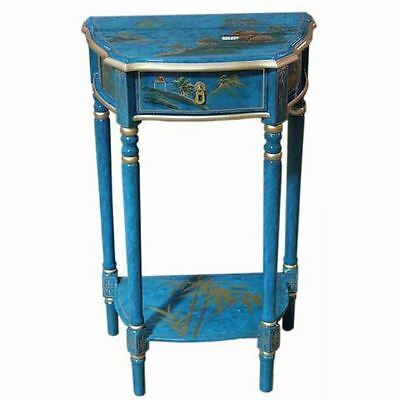 Hand Painted Mottled Blue Artistry Design Hall Table Oriental Furniture Chinese