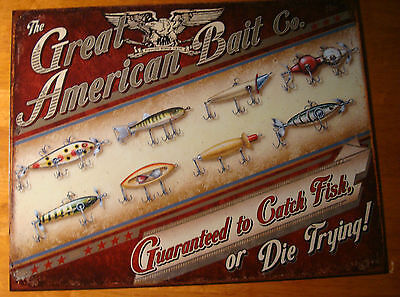 BAIT & LURES GUARANTEED TO CATCH FISH Fishing Lodge Home Rustic Decor Sign NEW
