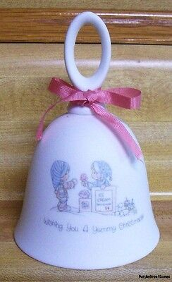 "PRECIOUS MOMENTS ""Wishing You A Yummy Christmas"" Bisque Porcelain BELL Enesco"