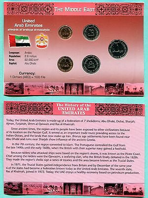 1996-2009 United rab Emirates 5 Piece Uncirculated Coin Set & Information Card