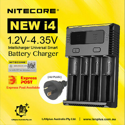 New Nitecore i4 Smart Battery Charger 4-slot Li-ion 18650 26650 AAA Ni-MH RCR123