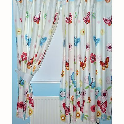 "BUTTERFLIES 66"" x 72"" LINED CURTAINS WITH TIE-BACKS matches bedding"
