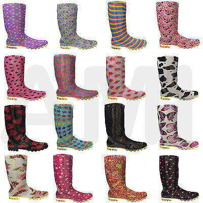 New Ladies Womens Girls Fashion Wellies Boots Size 3 4 5 6 7 Cold Outdoor Winter