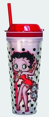 Betty Boop Combo Cup/Drinking Glass With Straw & Snack Bowl
