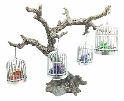 Miniature Caged Elemental Dragon Ornaments On Withered Tree Display Figurine Set