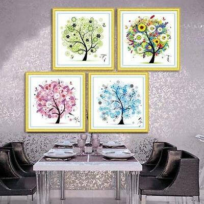 11C Four Seasons Decoración Casa Colorido árbol Kit De Punto De Cruz Bordado Set