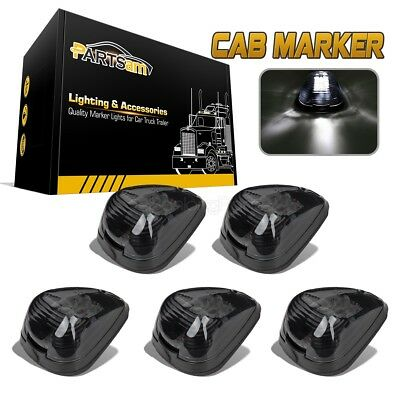 5 Smoke Roof Running Clearance Cab Marker W/ Build-in White 9LED Assembly Lights