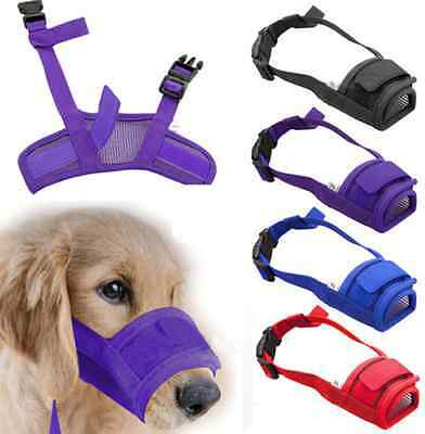 Breathable Mesh Pet Dog Muzzle Mouth Mask Well Ventilated Bite Bark 4 Colors US