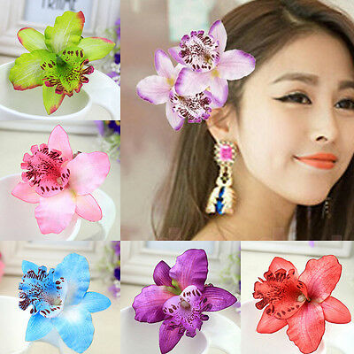 2 Pcs Butterfly Orchid Flower Hair Clip Bridal Wedding Prom Party Barrette Pin
