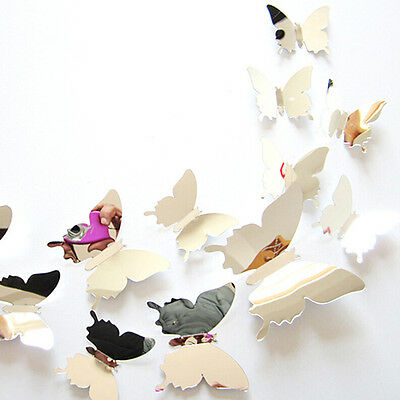 12 pcs mirror 3d butterfly wall stickers party wedding decor diy home decoration