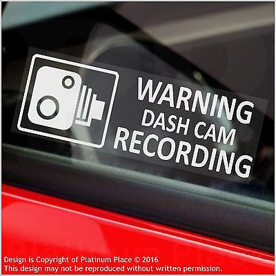 5 x WARNING Dash Cam Recording Warning Stickers-CCTV Sign-Car,Taxi,Mini Cab-30mm