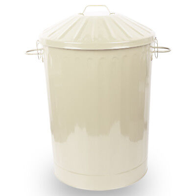 90L X-Large Colour Metal Dustbin House Garden Bin with Special Locking Lid Cream