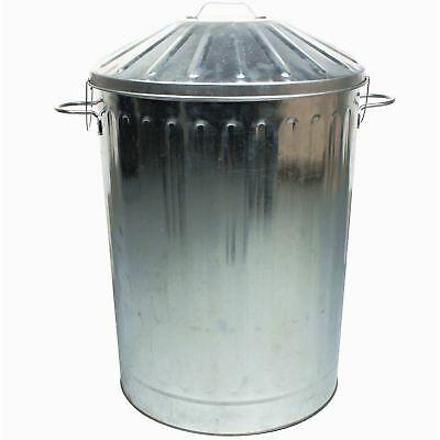 90L Colour Metal Dustbin House Garden Bin with Special Locking Lid Galvanised