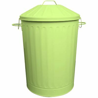 90L Colour Metal Dustbin House Garden Bin with Special Locking Lid Lime Green