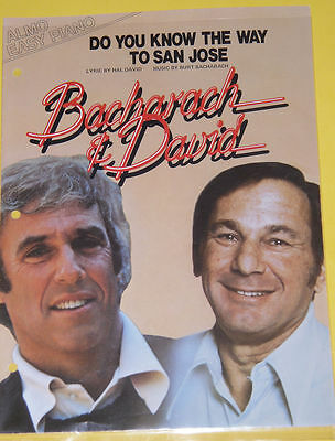 Do You Know The Way To San Jose 1967 Sheet Music! Great Picture SEE!