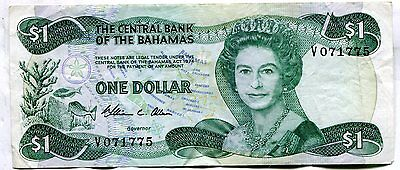 Bahamas 1974 One Dollar, Pick #35a, VF, stains