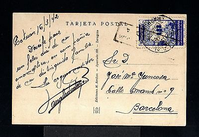9801-SPANISH MOROCCO-OLD POSTCARD TETUAN to BARCELONA(spain)1942.Marruecos.MAROC