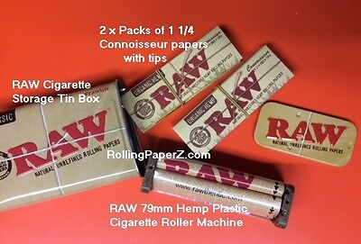 2X RAW 1 1/4 Connoisseur w/Tips Rolling Papers +Storage TIN +Hemp Plastic ROLLER