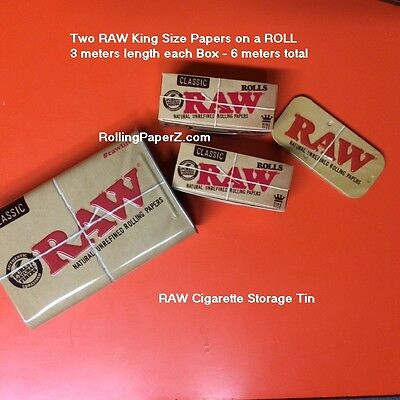 TWO X RAW King Size ROLLS 3 meter length each Rolling Paper+Storage Stash TIN