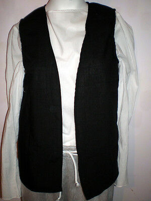 New Handmade Renaissance / Pirate Boy's Vest Size 13/14 Various Colors