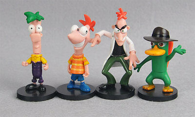 "4pcs toy Disney Phineas and Ferb Perry figures set 7-9cm/3"" Cake topper#US"