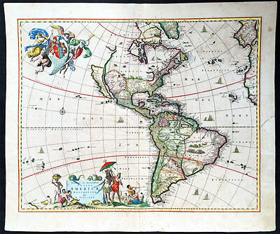 1658 Visscher Large Antique Map of America - California as an Island - 1st ed.