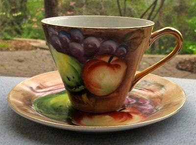 Lefton China Orchard Heritage Fruits Hand Painted Cup and Saucer Set Porcelain
