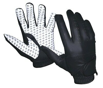 Black White Equestrian Riding Gloves Horse English Dressage Synthetic Leather