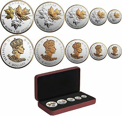 2016 Canada Reverse Proof Silver Maple Leaf 5 Coin Fractional Set Historic Reign