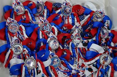 Patriotic USA Hello Kitty Snoopy Mickey My Little Pony Hair Bow with Beads