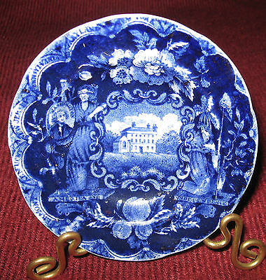 """C.1825 Clews Dark Blue Historical Staffordshire States Pattern Cup Plate 3-5/8"""""""