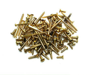 BRASS WOODSCREWS - COUNTERSUNK & ROUND HEAD - Pack of 100 Assorted Wood Screws