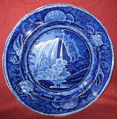"""19th C. BLUE HISTORICAL STAFFORDSHIRE TABLE ROCK NIAGARA PLATE by E WOOD 10-1/4"""""""