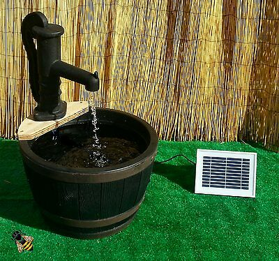 Water Feature Garden Pond Solar Pump Fountain Barrel Patio Gold Fish New